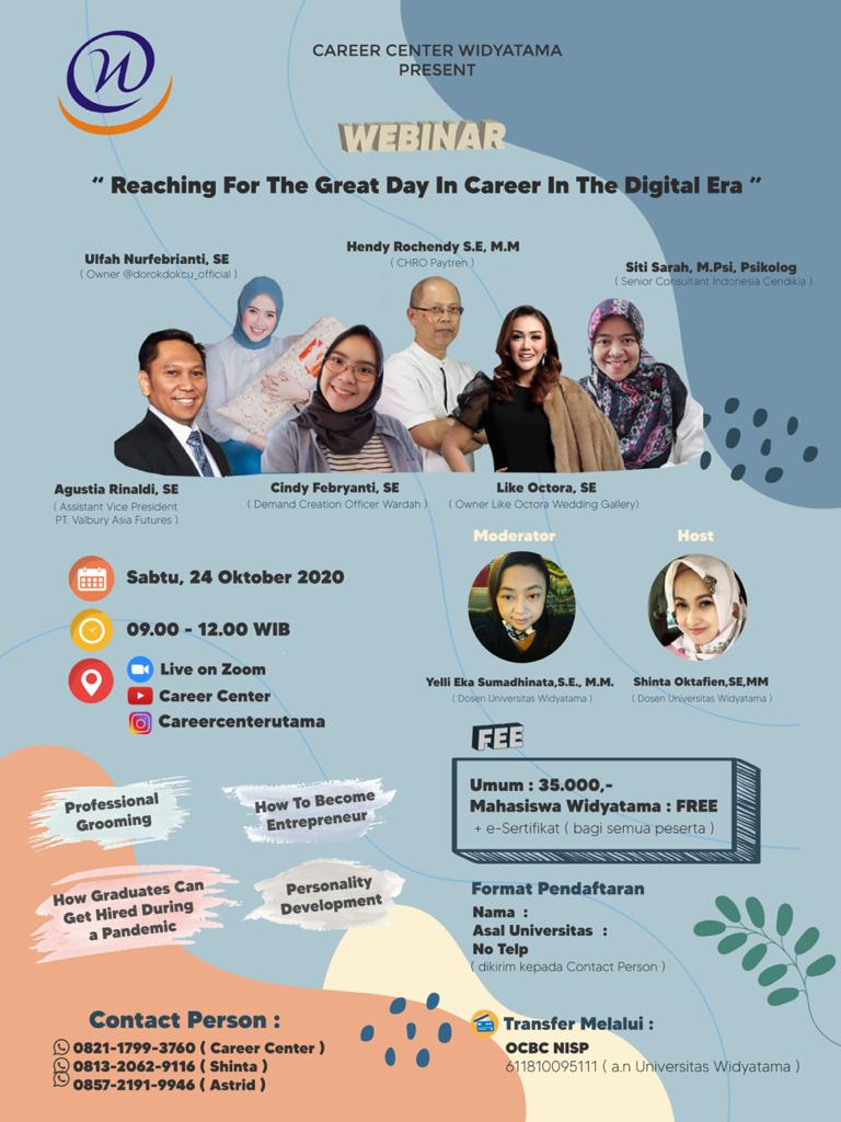 CAREER CENTER PROUDLY PRESENT WEBINAR REACHING A PROMISING CAREER IN DIGITAL ERA
